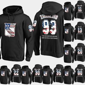 Mens New York Rangers ABD Bayrağı Hoodie 17 Jesper Hızlı 50 Lias Andersson 72 Filip Chytil Hokeyi Sweatershirt Formalar Siyah S-XXXL