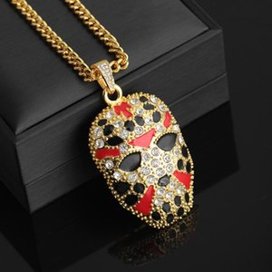 Men Hip Hop Iced Out Mask Crystal Chain Pendant Necklace Gold Color Special Gift for Women Men Shellhard Punk Jewelry
