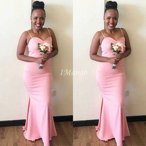 Pink Mermaid Bridesmaid Dresses Long 2020 Spaghetti Straps Bodice African Country Boho Wedding Guest Dresses Zipper Back Plus Size