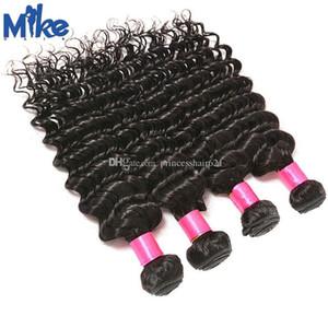 MikeHAIR Cabelo peruana onda profunda Curly Weave Mix 4 Pacotes Comprimento da Malásia índio brasileiro Har Humano tece princesa rainha produtos de cabelo