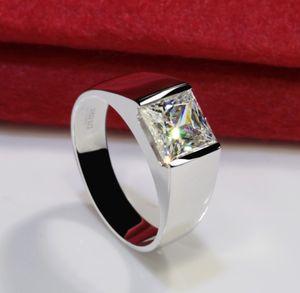 Solide 3CT 925 Sterlingsilber Hochzeitstag Moissanite SONA Diamant-Ring-Verpflichtungs-BAND Modeschmuck Männer Frauen Brithday Geschenk