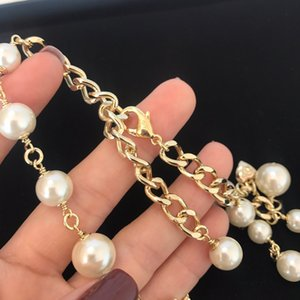 C2242 Delicate perfume bottle pearl necklace hand catenary letter choker beaded fashion small fresh jewelry set hand catenary