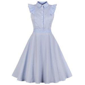 Wipalo Mulheres 1960 Hepburn balanço Rockabilly Vintage Vestido Plus Size Stripe Ruffles vestido retro Primavera-Verão Festa Vestidos 4XL