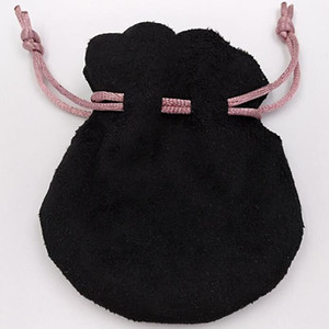 Logo Pan Jewelry Bags Negro Suede Pomegranate Drawstring Bag Pink Ribbon Cuentas de estilo europeo Charms Pulseras Bolsas personalizadas