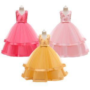 Girls Dresses Elegant Beading Tutu Princess Birthday Dress Kids Applique Prom Designs Ball Gown Teens Dresses For Girl Clothes