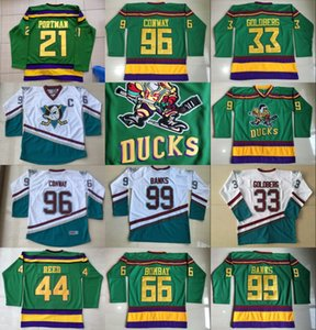 فيلم The Mighty Ducks Jersey 96 تشارلي كونواي 66 Gordon Bombay 99 آدم بانكس جريج جولدبرج ريد بورتمان خمر هوكي جيرسي أبيض أخضر