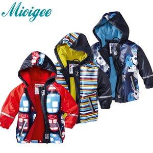 Mioigee 2018 Crianças Outerwear capa de chuva poncho Meninos de couro PU à prova de vento à prova de vento respirável Jaquetas casaco Mais roupas de veludo