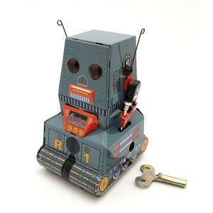 Desenhos animados Tinplate tanque do robô Wind-up Toy, Retro Pingentes pessoal, ornamento, Nostalgic Estilo, 'partido do miúdo dos presentes do Natal de aniversário, coletando