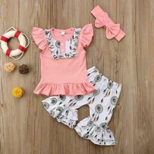 UK Baby Girl 1T-6T roupa infantil Hoodie Top Calças recém-nascidos Outfits Define 3pcs agasalho