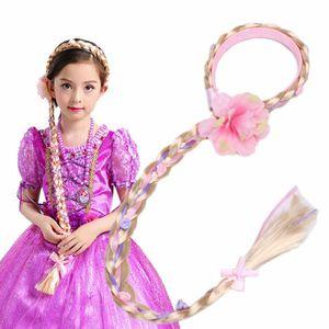 FOCUSNORM UK Cosplay Blonde Weaving Braid Tangled Rapunzel Princess Hair Headband Wig Girl Headwear For Adorable Kid Girl