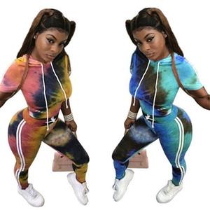 Tie Moda Pintado Mulheres Sportswear Casual luva com capuz listrada Top Curto Calças Sets New survêtement Femme