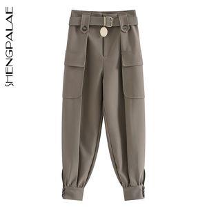 SHENGPALAE 2020 remiendo de la vendimia del resorte Joggers pantalón Harajuku mujer pantalones elásticos Solod color pantalones de cintura alta 2533