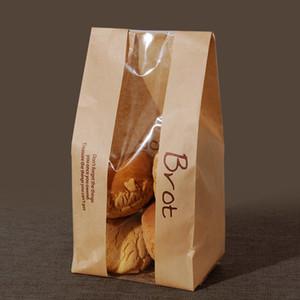 20 Pz Pane Sacchetto Con La Finestra Kraft Paper Bag Sacchetti per imballaggio alla scuola Bianco Baking Toast Bakery pane con Sticker