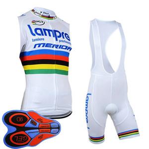 hommes cuissard jersey sans manches cycliste Lampre pro de l'équipe UCI World conviennent tour été respirant vélo clthing Y092608 uniforme de vélo en plein air