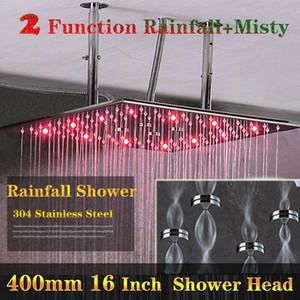 Robinetterie de douche de salle de bains 2 Fonction sans pile Led Rain Shower Shower Montage en acier inoxydable au plafond Douche Changer de couleur