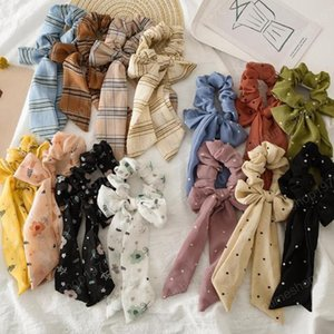 Floral Girl Hairband Chiffon Long Bow Streamer Hair Scrunchies Ties Ropes Ponytail Holder Accessories Flower Dots Plaid Stripe 12 Style