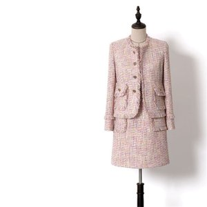 Handmade  Dress Suits for Women Fashion Tweed Sleeveless Dress and Single Breasted Tassel Short Blazers Suits Pink