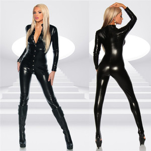 Sexy Women Faux Leather Jumpsuit Sexy Body Suits PVC Catsuit Teddy Leotard Costumes Latex Pole Dance Full Length Bodysuit