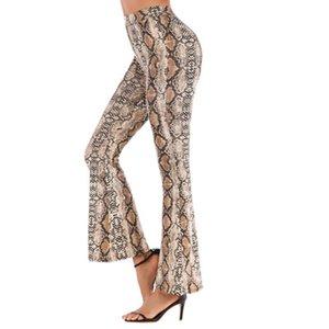 2020 Новый конструктор женские брюки весна Тонкий Leopard клеш Брюки Женщины высокой талией Широкий ноги брюки 4 цвета Азиатский размер S-2XL PH-YF202261