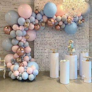 Pastel bambino Rosa Blu Grigio Macaron Balloon Arch Garland Kit 4D oro rosa palloncini matrimonio festa di compleanno Sfondo Decor T200526