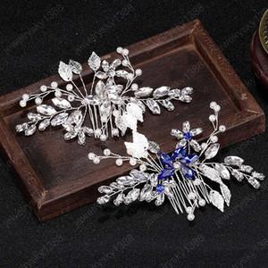 Vintage Silver Color Crystal Floral Bridal Hair Comb Flower Wedding Barrettes Women Wedding Hair Accessories Brides Gift