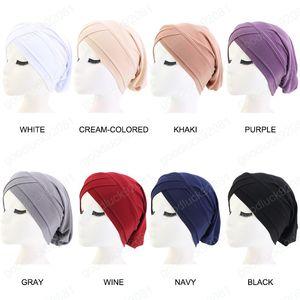 Neue Frauen-Stretchy Hijabs Hat Turban muslimischen Schal grundiert Hut Chemo Kappe Plain Hijabs Caps Ethnische Schwarz Blau Mützen Kopfbedeckung