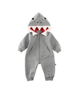 Симпатичный 3D Shark Romper Комбинезон зима с капюшоном с длинным рукавом легкого костюм с шортами Костюм для мальчика Девочка Дети