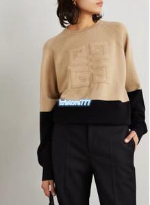 Luxury Design LANA Lettera Contrast da donna di colore Pullover Maglione Le Alte End Girls pista di Viscosa stretch maglia del collo di squadra Maglioni