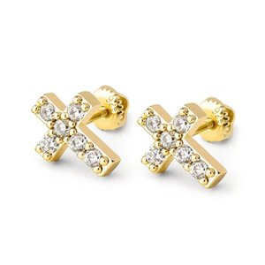 Genuine 925 Sterling Silver Tiny Sparkling Cross Stud Earrings For Women Fashion Silver Jewelry Gifts