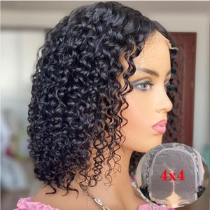 """4x4 lace Closure Wig Malaysian Curly Human Hair Wigs Remy 12"""" Short Bob Wig Lace Front Human Hair Wigs For Women 130 Density"""