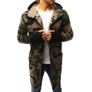 Sports Style Male Clothing Spring Autumn Men Trench Coats Camouflage Hooded Zipper Design Slim Male Outerwear