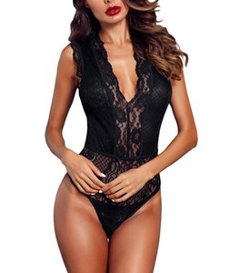 Mujeres V cuello Hollow-out Lace Bodysuit Sexy elegante sin mangas Bodys Party Clubwear Bodycon Romper Tops ropa interior