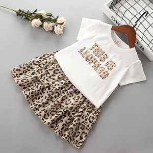 wholesale 2-7 years girl clothing sets 2020 new summer casual letter Leopard kid children girl clothing shirt+skirt 2pcs