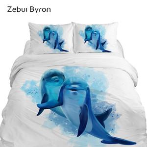 3D Dos Desenhos Animados Crianças Conjuntos de Cama, conjunto de cama King / Queen Size, bebê / Crianças capa de edredão set, cobertor / Quilt Animal tampa do golfinho