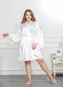 Womens desigener ropa de noche de color sólido del estilo de Corea de manga larga de cuello V dormir más el tamaño de las mujeres Sleepshirts tradicional