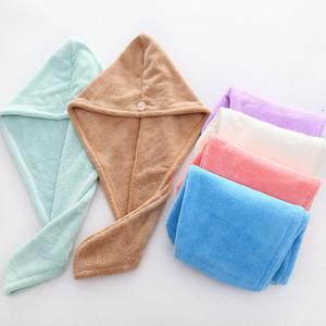 Microfibra cabelo seco Cap Coral Velvet secagem rápida Turban Super Absorvente As mulheres engrossam Enrole Bath Cabelo F3780 Toalha