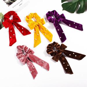 Cute Girl cheveux corde velours perle Chouchous bowknot Bandeaux élastiques pour les femmes Bow Ties Holder Accessoires Cadeaux Ponytail RRA2788