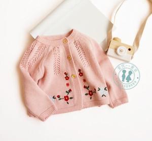 INS детская детская одежда свитер Цветочная вышивка вязаный кардиган свитер 100% хлопок бутик 100% хлопок весна осень свитер девушка
