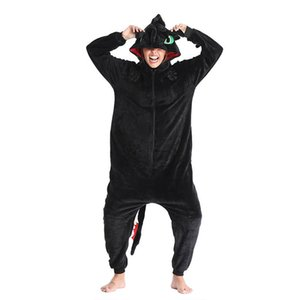 Animal Kigurumis Onesies Homewear Adulto desenhos animados Dragão desdentado Pajama Mulheres macacãozinho Unisex flanela Pijamas Onesie Macacão Y200425