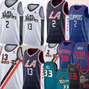 de 2 Kawhi Homens NCAA Leonard Paul 13 George jersey Derrick Rose 25 Grant 33 Colina Jersey College Basketball Jerseys costurado Logos