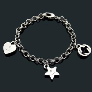 aço G letra marca inoxidável coração Pentagrama GROSSO PULSEIRA versão sub Gold Star love casal pulseira para mulheres homens pulseira amor