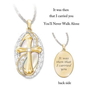 Hot Fashion Jewelry Footprint Cross Diamond Pendant Necklace
