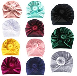 Neugeborenes Baby Hot Hat Fashion New Bow Beanie Cap Velvet Turban Hüte Haarschmuck beiläufige Baby-Kappen