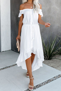 3 Colors Women Dresses Solid Color Sexy Backless Irregular Ruffled Sleeves Off Shoulder Dress Casual Dress Summer Fashion Temperament