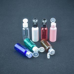 50 ml bouteilles d'emballage PET en plastique vides cosmétiques bouteille de voyage avec flip cap Emulsion huile essentielle récipients de maquillage Mini bouteille rechargeable