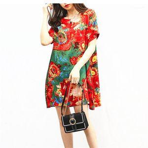 Mujer Digital Impreso vestido de las mujeres de cuello redondo suelta vestidos de las señoras ocasionales de fiesta vestido de verano