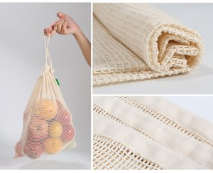 3pcs Set Reusable Cotton Mesh Grocery Shopping Produce Bags Vegetable Fruit Fresh Bags Hand Totes Home Storage Pouch Drawstring Bag DHL Free