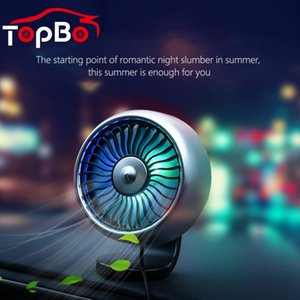USB Car Vent Fan With Colourful LED Atmosphere Lamp 12V Car Cooling Circulator Fan Interior Accessories