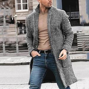 Di lana rivestimento casuale Winter Fashion Hounstooth Gentlemen lungo cappotto rivestimento degli uomini Outwear Inverno Nuovo stile manica lunga Blends