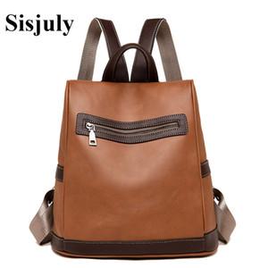 Sisjuly Мода Кожа Рюкзак Женщина Bagpacks Повседневный Малый рюкзак для женщин мешка школы девочек Противоугонного Сака